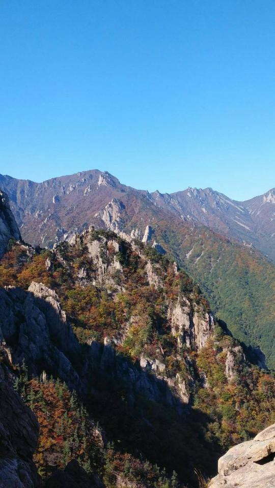 山頂から絶景を望む